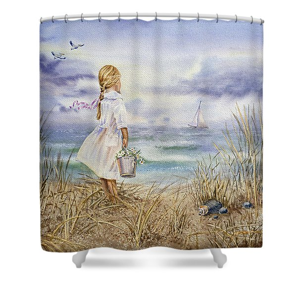 Girl At The Ocean Shower Curtain