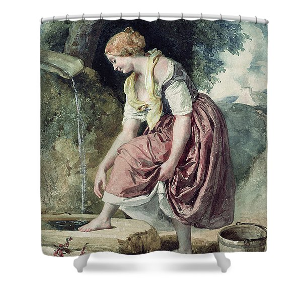 Girl At A Conduit Shower Curtain