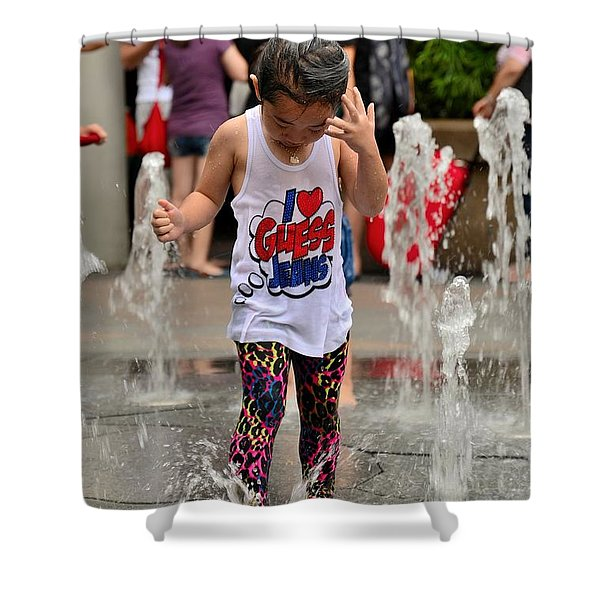 Girl Child Plays With Water At Fountain Singapore Shower Curtain