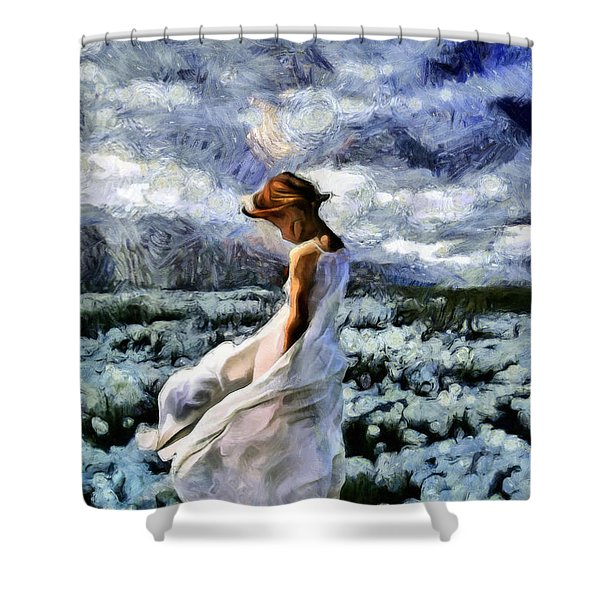 Girl In A Cotton Field Shower Curtain