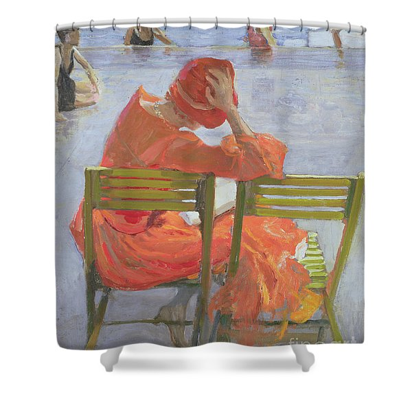 Girl In A Red Dress Reading By A Swimming Pool Shower Curtain