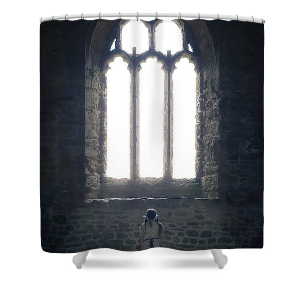 Girl In Chapel Shower Curtain