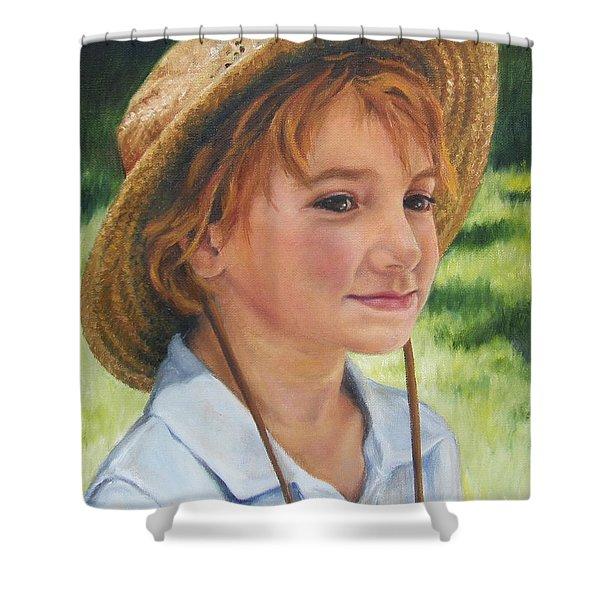 Girl In Straw Hat Shower Curtain