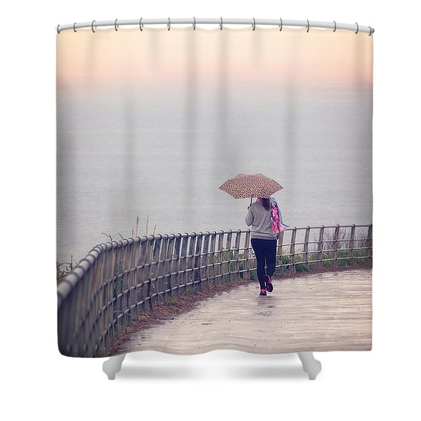 Girl Walking With Umbrella Shower Curtain