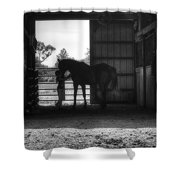 Girl With Horse Shower Curtain