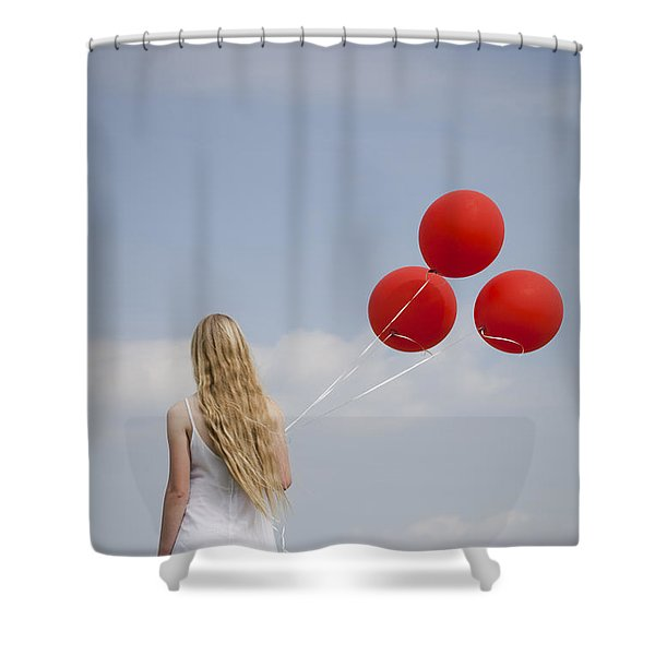 Girl With Red Balloons Shower Curtain