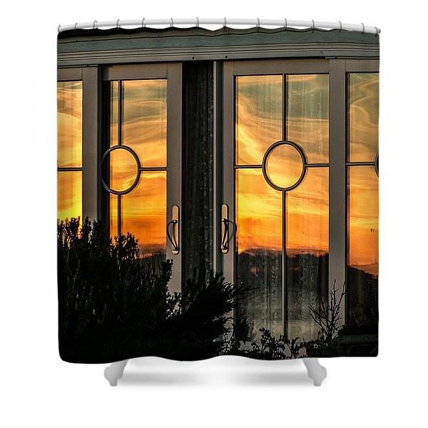Glass Doors Aglow Shower Curtain