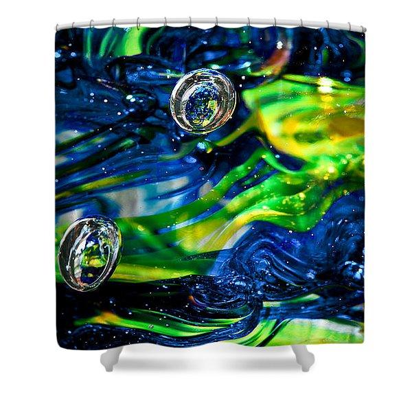 Glass Macro - Seahawks Blue And Green -13e4 Shower Curtain