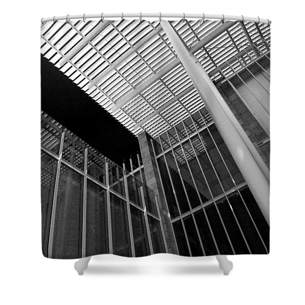 Glass Steel Architecture Lines Black White Shower Curtain