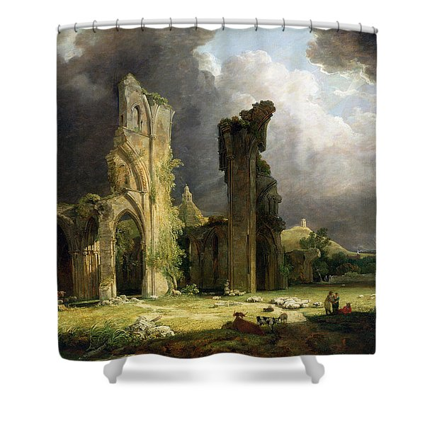 Glastonbury Abbey With The Tor Shower Curtain