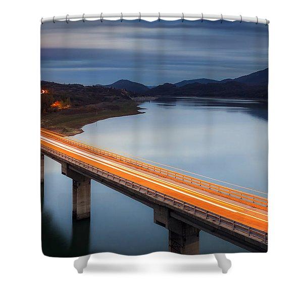 Glowing Bridge Shower Curtain