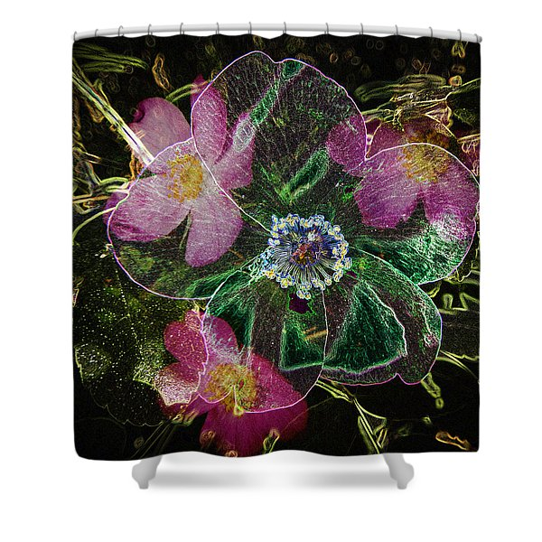 Glowing Wild Rose Shower Curtain