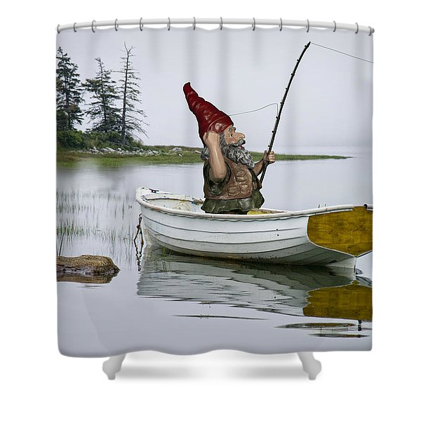 Gnome Fisherman In A White Maine Boat On A Foggy Morning Shower Curtain