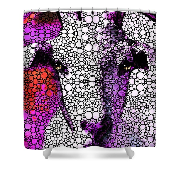 Goat - Pinky - Stone Rock'd Art By Sharon Cummings Shower Curtain