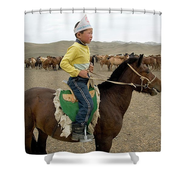 Gobi Boy On Horseback Shower Curtain