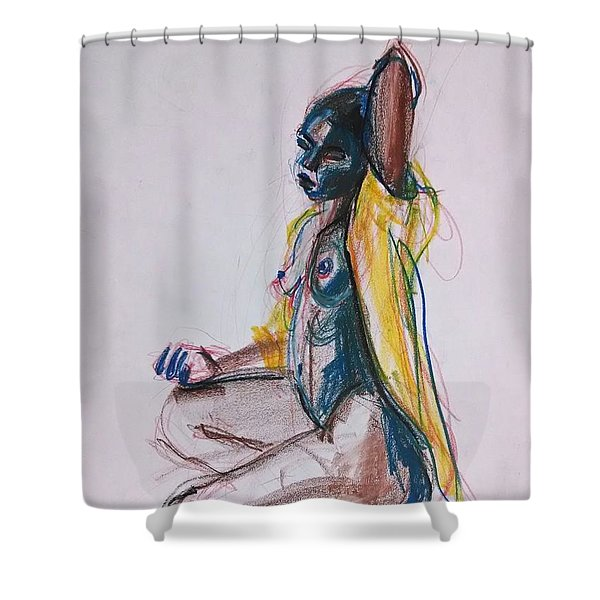 Shower Curtain featuring the drawing Goddess by Gabrielle Wilson-Sealy