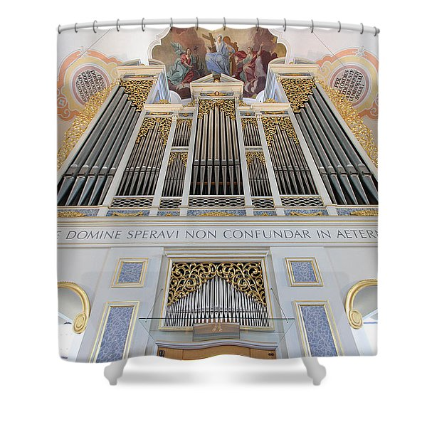 Gold And Blue Pipes Shower Curtain