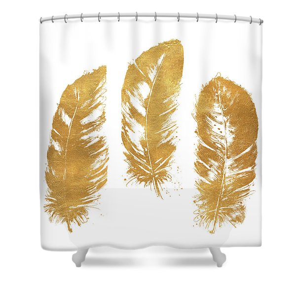 Gold Feather Square Shower Curtain