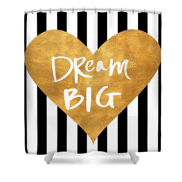 Gold Heart On Stripes I Shower Curtain