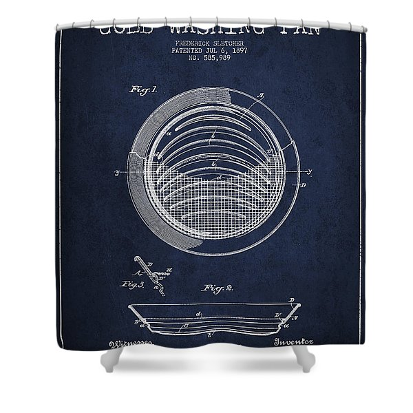 Gold Washing Pan Patent Drawing From 1897 Shower Curtain
