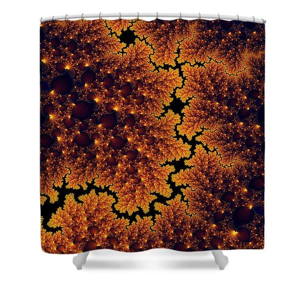 Golden And Black Fractal Universe Shower Curtain