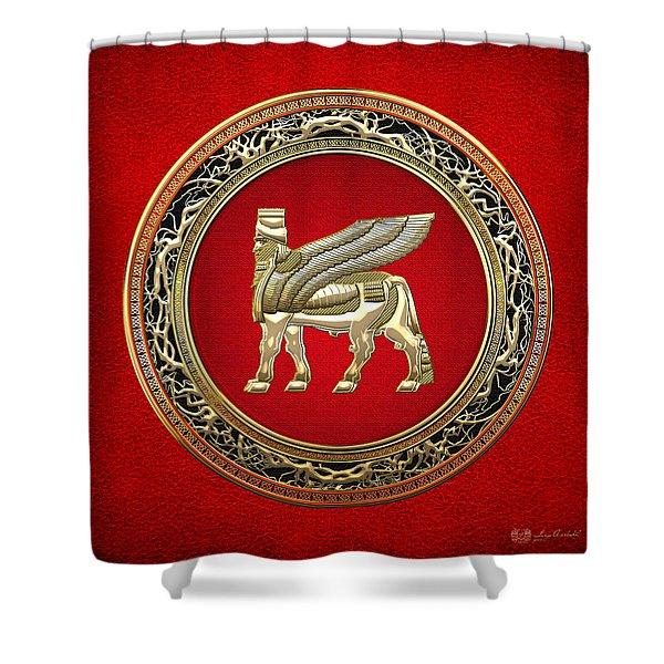 Golden Babylonian Winged Bull  Shower Curtain
