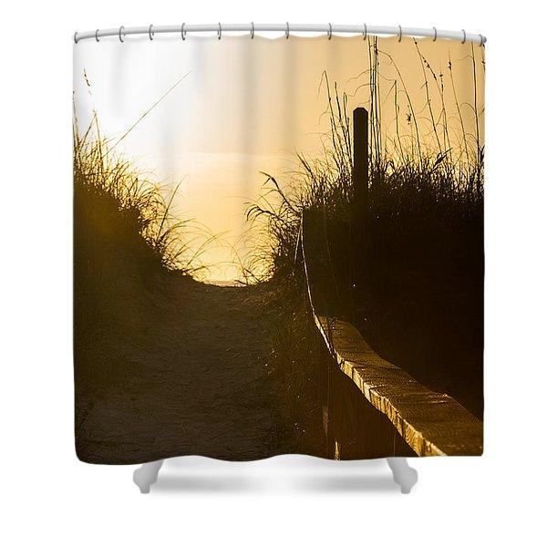 Golden Beach Access Shower Curtain