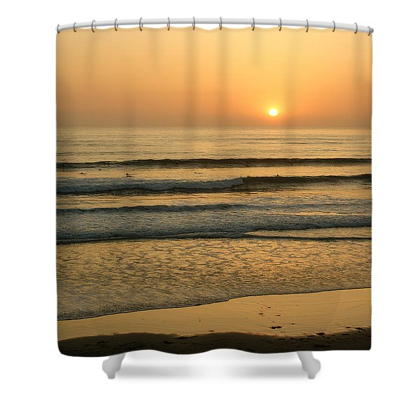 Golden California Sunset - Ocean Waves Sun And Surfers Shower Curtain