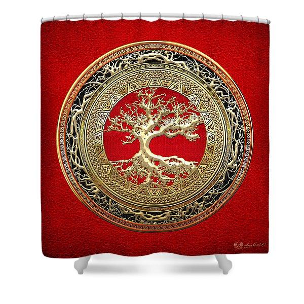 Golden Celtic Tree Of Life  Shower Curtain
