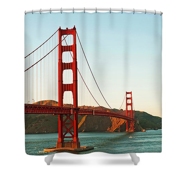 Golden Gate Bridge At Sunset Shower Curtain