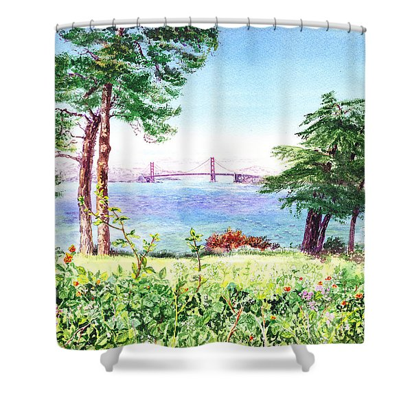 Golden Gate Bridge View From Lincoln Park San Francisco Shower Curtain