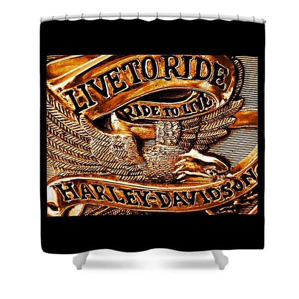 Golden Harley Davidson Logo Shower Curtain