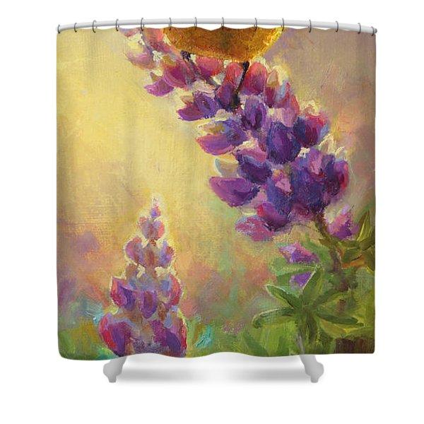 Golden Light 2 Wilsons Warbler And Lupine Shower Curtain