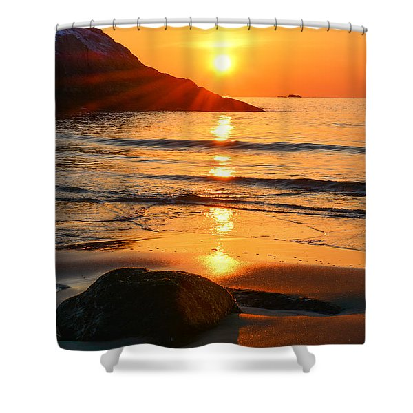 Golden Morning Singing Beach Shower Curtain