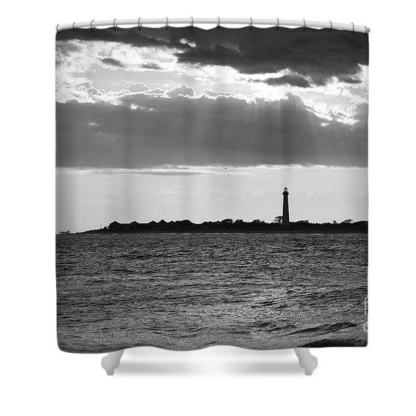 Golden Rays At Cape May Bw Shower Curtain