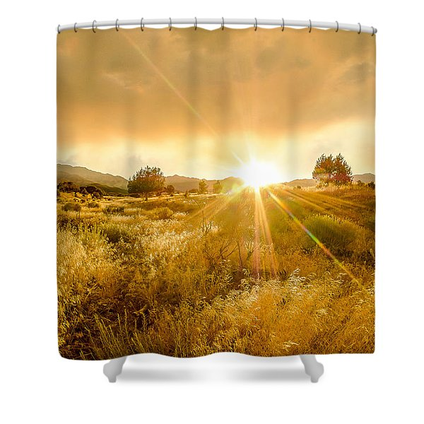 Golden Smoke Shower Curtain