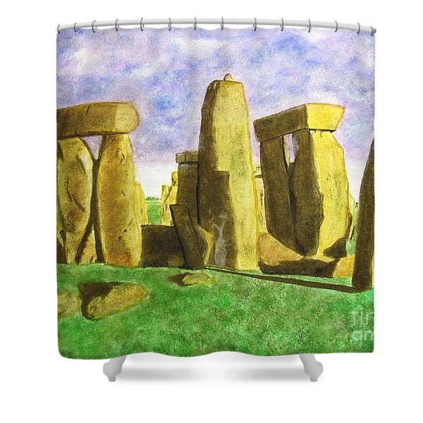 Golden Stonehenge Shower Curtain