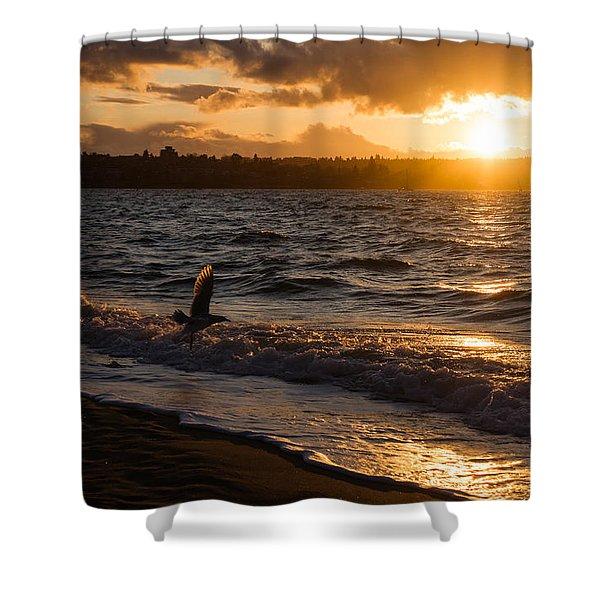 Golden Wings Golden Water Shower Curtain