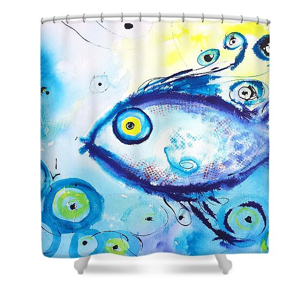 Good Luck Fish Abstract Shower Curtain