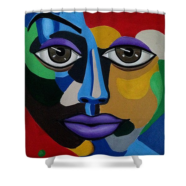 Colorful Illusion Abstract Face Art Painting, Big Brown Eye Art, Optical Artwork Shower Curtain