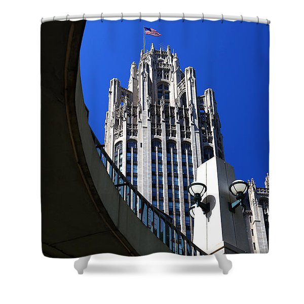 Gothic Tribune Tower Curve Shower Curtain