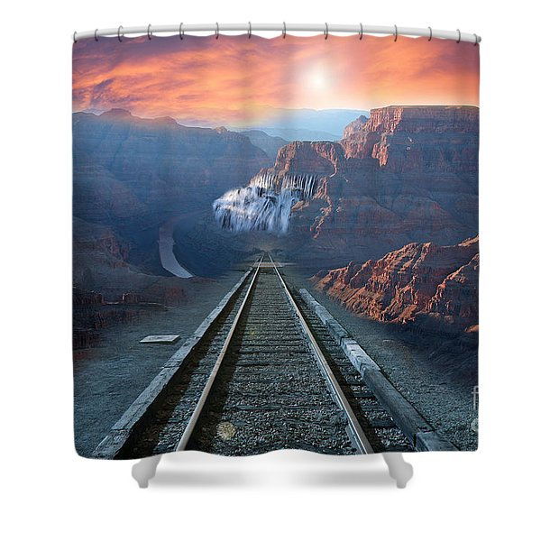 Shower Curtain featuring the photograph Grand Canyon Collage by Gunter Nezhoda