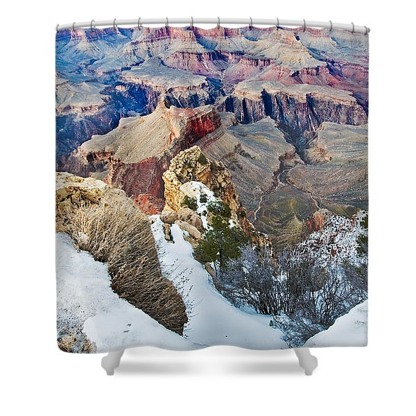 Shower Curtain featuring the photograph Grand Canyon In February by Mae Wertz