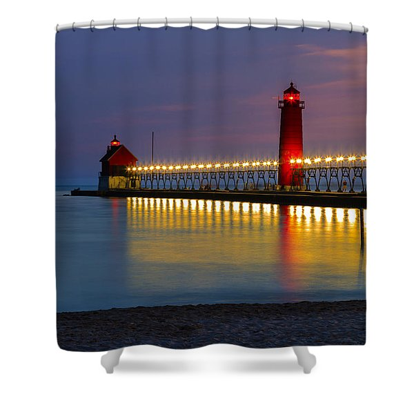 Grand Haven South Pier Lighthouse Shower Curtain
