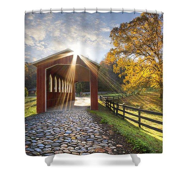 Granny Squirrel Bridge Shower Curtain
