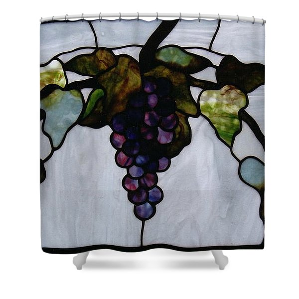 Shower Curtain featuring the glass art Grapes by Karin Thue