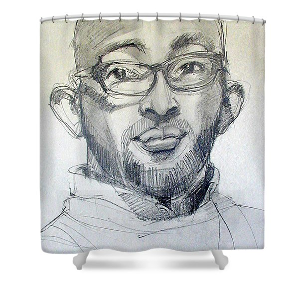 Graphite Portrait Sketch Of A Young Man With Glasses Shower Curtain
