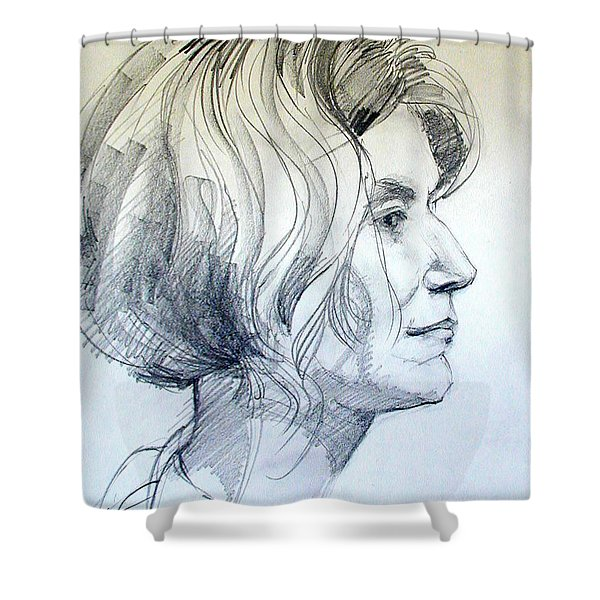 Portrait Drawing Of A Woman In Profile Shower Curtain