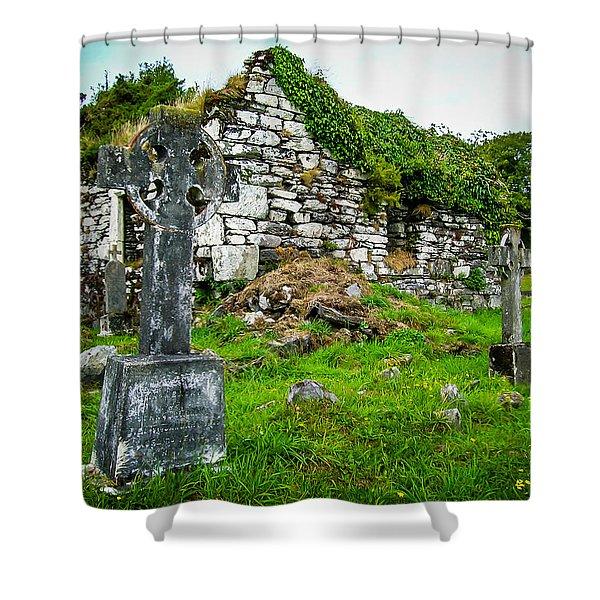Graveyard And Church Ruins On Ireland's Mizen Peninsula Shower Curtain