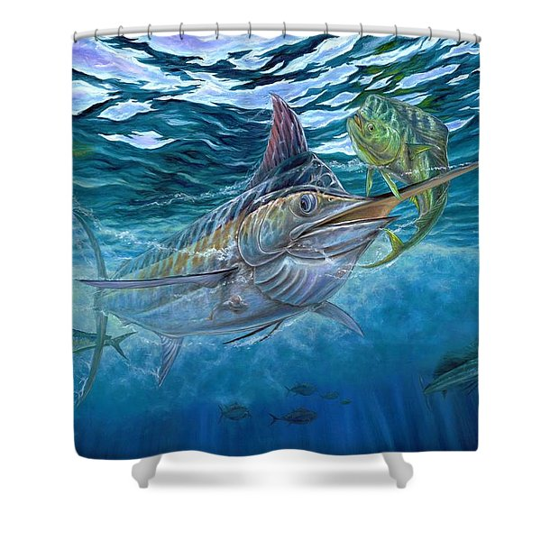 Great Blue And Mahi Mahi Underwater Shower Curtain